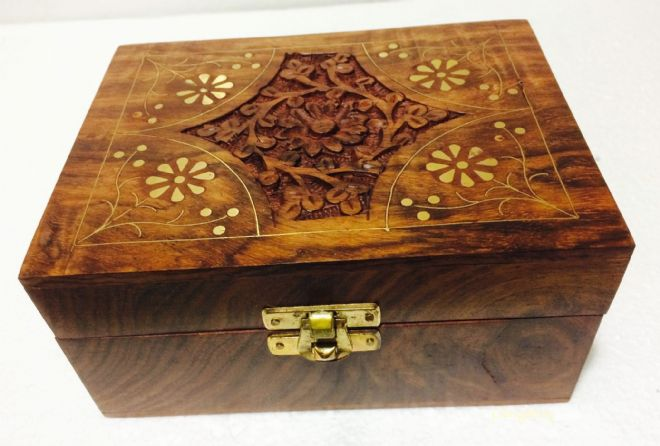 Carved Elephant Floral Decorative Box 7x5